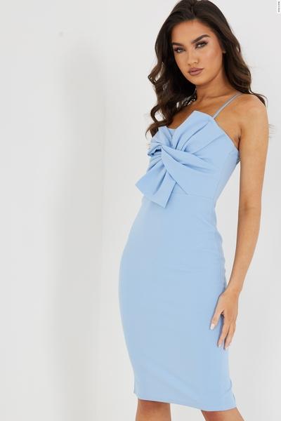 Blue Bow Front Midi Dress
